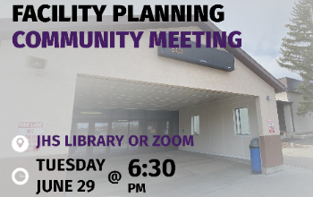 School building, facility planning community meeting at JHS library or zoom on Tuesday June 29 at 6:30pm