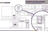 Floorplan development of secure vestibule and office